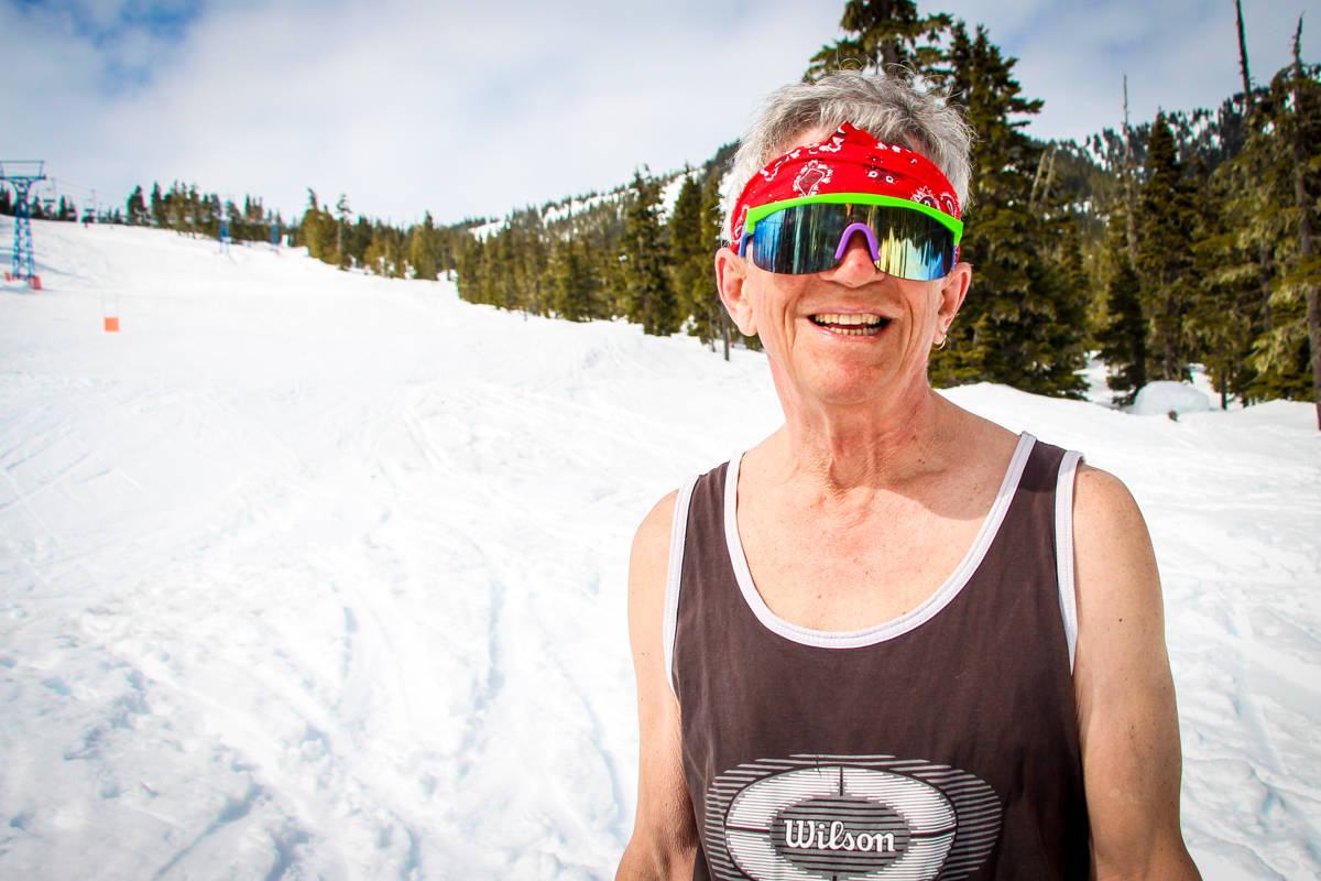 Douglas Phillips, ski instructor at Shames Mountain, is one of the few who make it across the Slush Cup. (Shannon Lough / The Northern View)