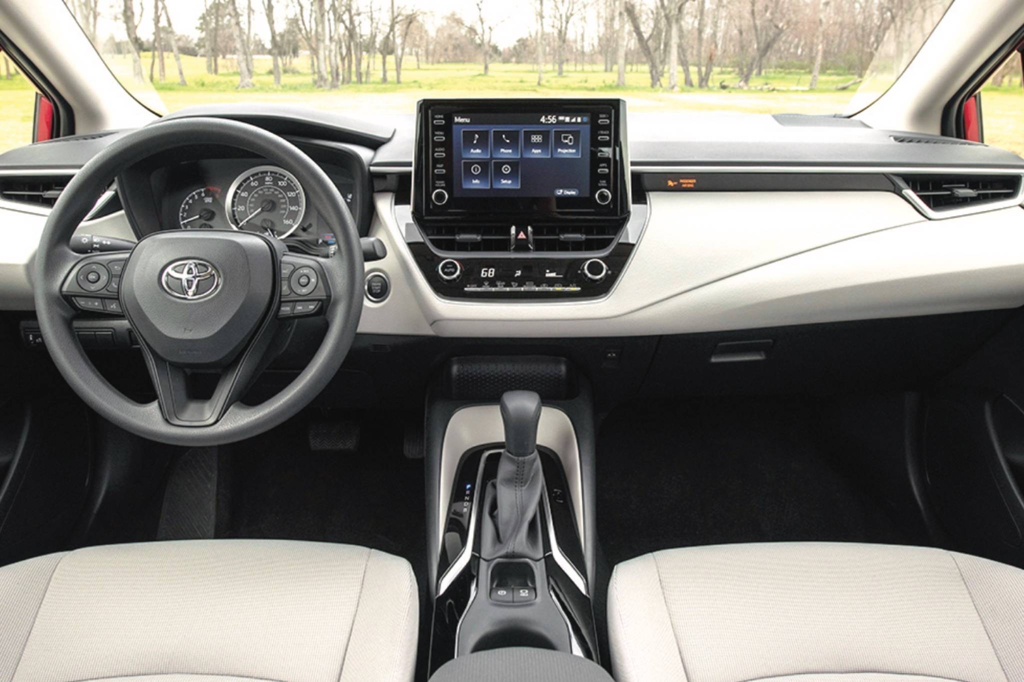 The Corolla's dashboard really shows how far this entry-level model has come, even in the last decade. Now, designers go for style as much as function, but that certainly wasn't always the case. Note how few buttons there are, other than on the steering wheel. Photo: Toyota
