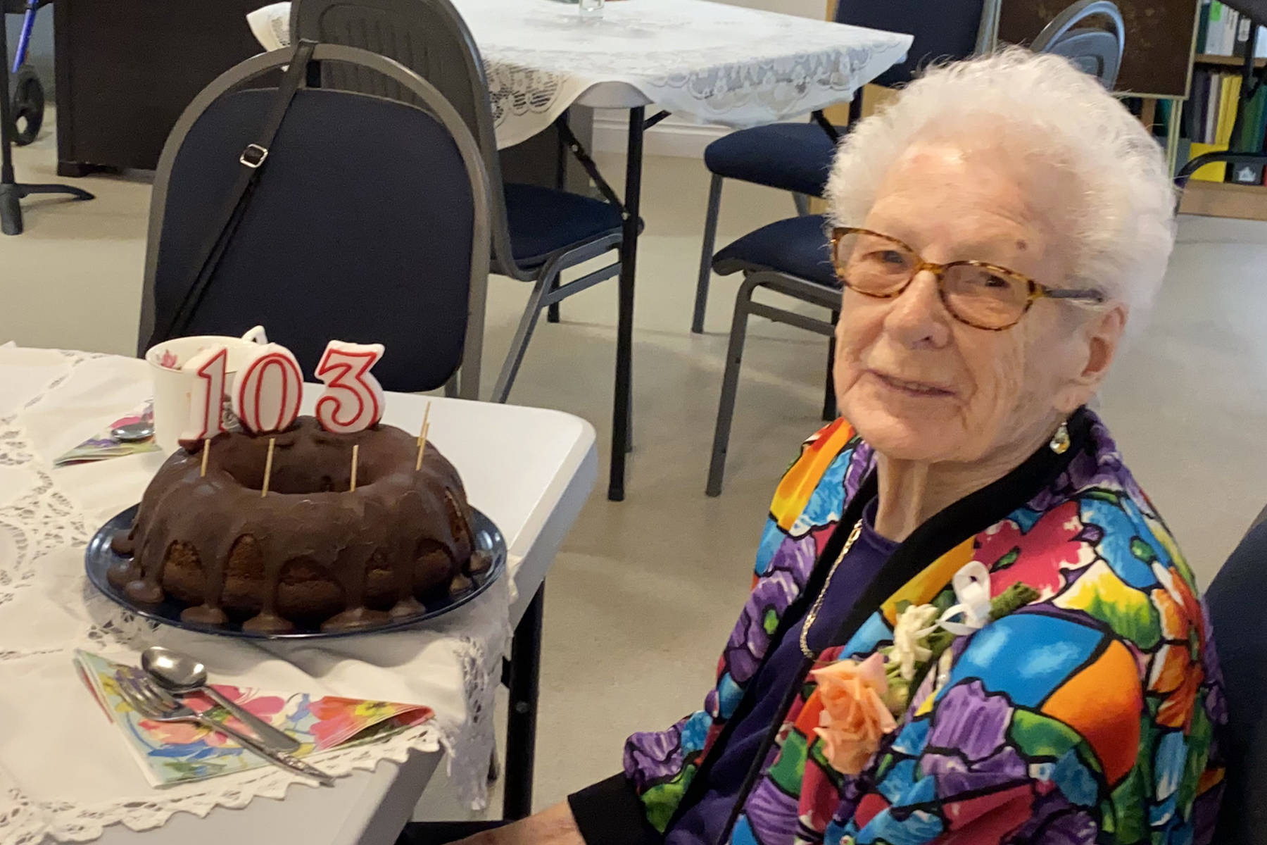 Mary Barrows, a resident of Angus Place in Summerland, celebrated her 103rd birthday on Aug. 19. (John Arendt - Summerland Review)